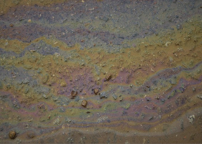 Photography Greeting Card featuring the photograph A Close-up Of A Parking Lot Oil Slick by Joel Sartore