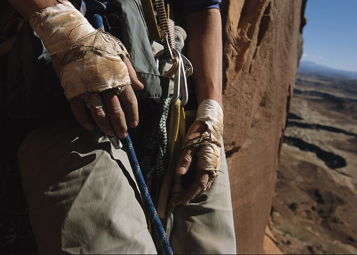 Anatomy Greeting Card featuring the photograph A Close View Of Rock Climber Becky by Bill Hatcher