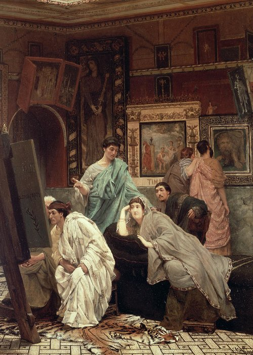 Collector Greeting Card featuring the painting A Collector Of Pictures At The Time Of Augustus by Sir Lawrence Alma-Tadema