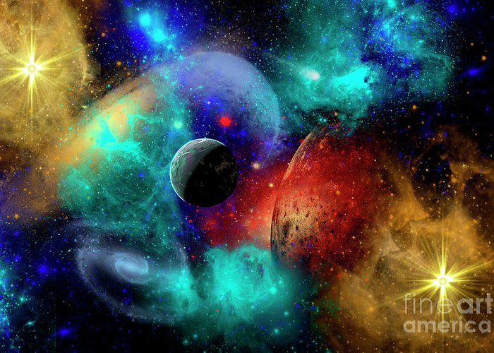 Artwork Greeting Card featuring the digital art A Colorful Part Of Our Galaxy by Mark Stevenson