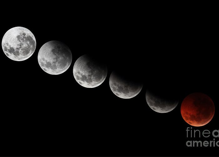 Lunar Phases Greeting Card featuring the photograph A Composite Showing Different Stages by Luis Argerich