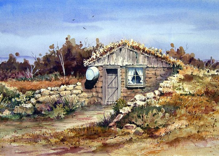 a Little South Of Wolf Creek (shattuck Dugout) By Sam Sidders Greeting Card featuring the painting A Little South Of Wolf Creek by Sam Sidders