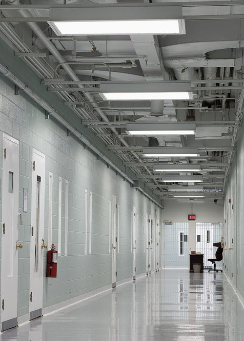 None Greeting Card featuring the photograph A Long Corridor In A Residential Unit by Roberto Westbrook