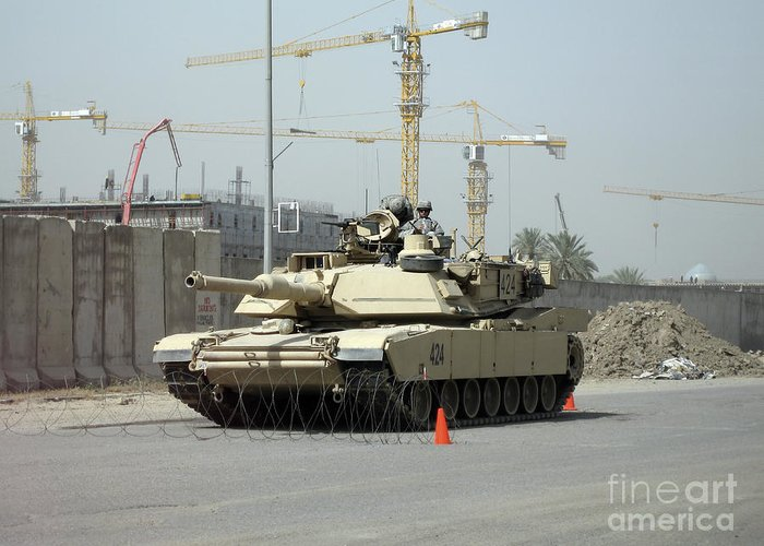 Baghdad Greeting Card featuring the photograph A M1 Abram Sits Out Front Of The New by Terry Moore