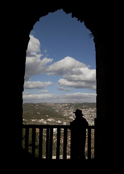 Ajloun Greeting Card featuring the photograph A Man Looks Out Of Ajloun Castle by Taylor S. Kennedy