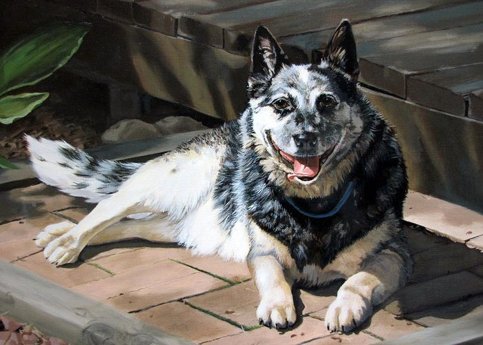 Dog Greeting Card featuring the painting A Man's Best Friend by Sandra Chase