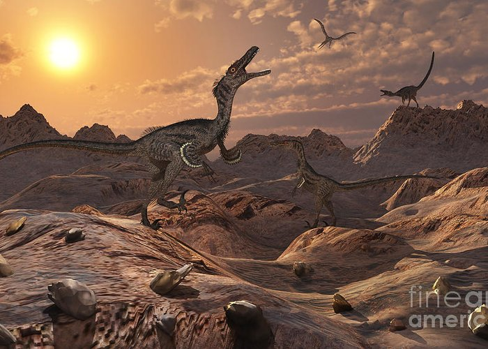 Growl Greeting Card featuring the digital art A Pack Of Carnivorous Velociraptors by Mark Stevenson