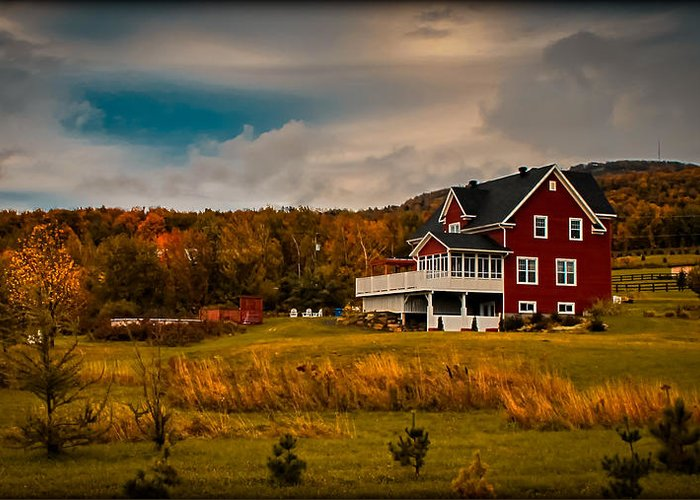 Red Farmhouse Greeting Card featuring the photograph A Red Farmhouse In A Fallscape by Chantal PhotoPix