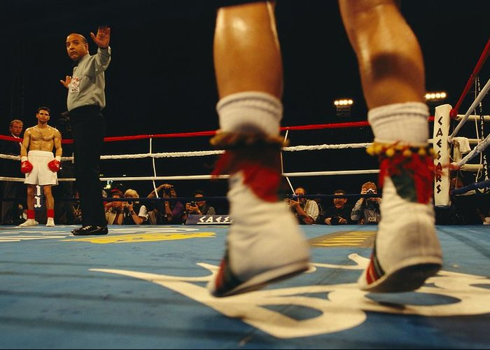 North America Greeting Card featuring the photograph A Referee And Boxers Prepare by Maria Stenzel