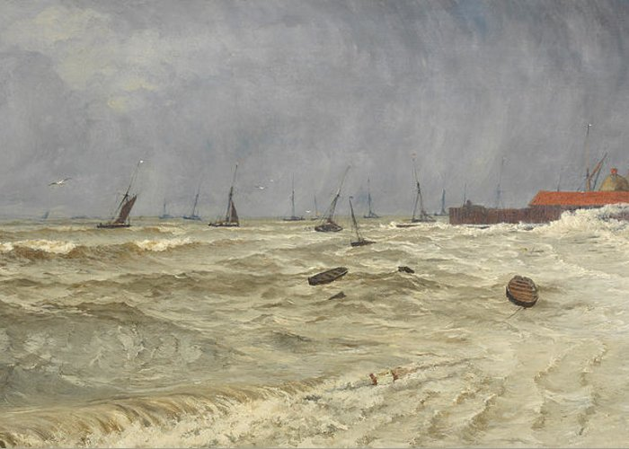 Seascape Greeting Card featuring the painting A Rough Day At Leigh by William Pye