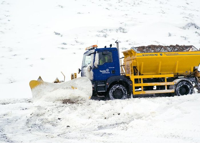 Snow Plough Greeting Card featuring the photograph A Snow Plough Clearing A Road by Duncan Shaw