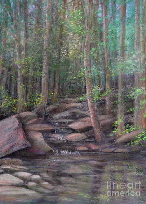 Woods With Stream Greeting Card featuring the painting A Special Place by Penny Neimiller