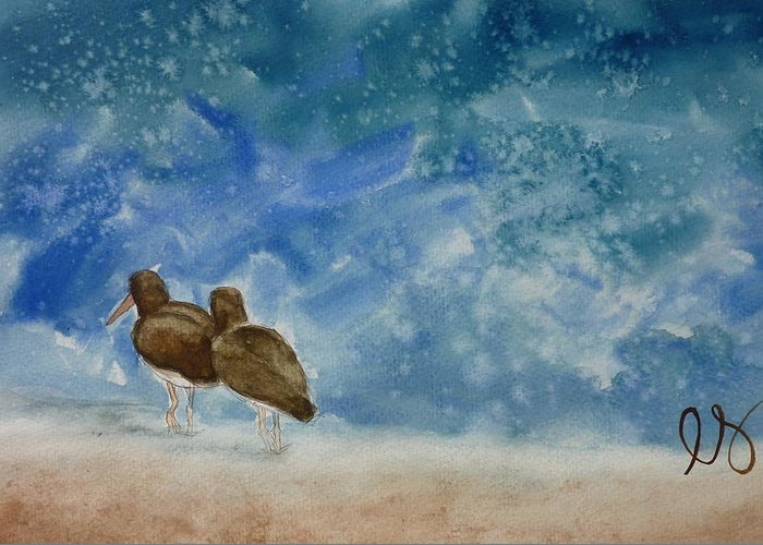 Oystercatchers Greeting Card featuring the painting A Walk On The Beach by Estephy Sabin Figueroa