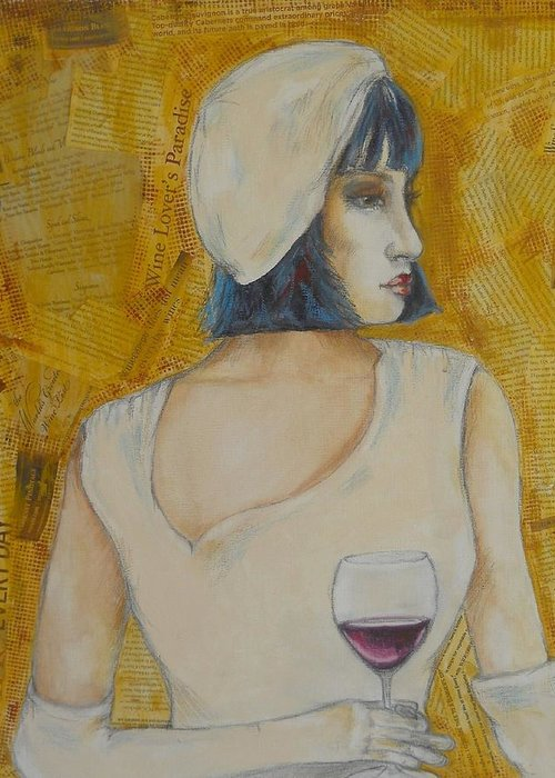 Girl Greeting Card featuring the painting A Wine Tasting Evening by MaryAnn Ceballos