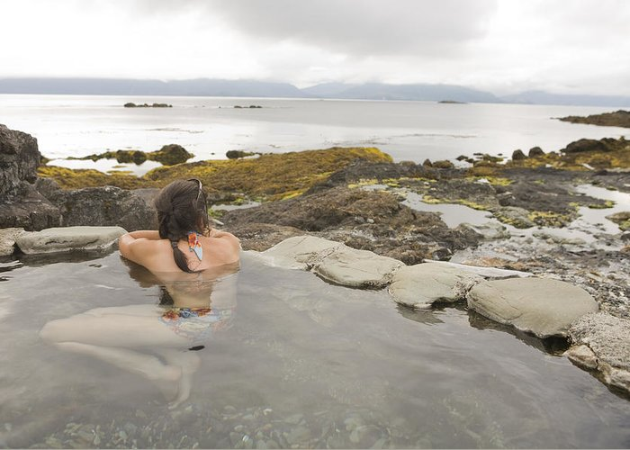 Queen Charlotte Islands Greeting Card featuring the photograph A Woman Enjoys A Hot Spring by Taylor S. Kennedy