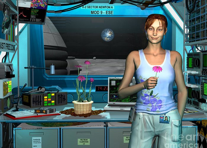 Space Exploration Greeting Card featuring the digital art A Young Radio Astronomer Stationed by Walter Myers