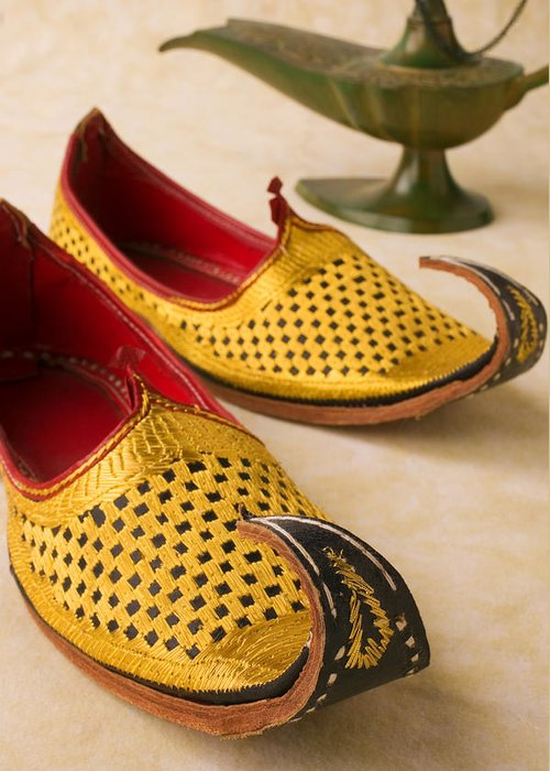 Arabian Shoes Greeting Card featuring the photograph Abarian Shoes by Garry Gay