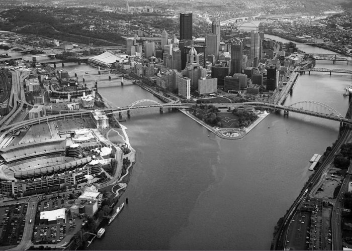 Aerial Photography Greeting Card featuring the photograph Above Pittsburgh by Emmanuel Panagiotakis