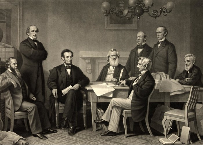emancipation Proclamation Greeting Card featuring the photograph Abraham Lincoln At The First Reading Of The Emancipation Proclamation - July 22 1862 by International Images