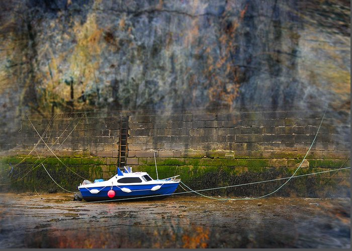 Anchored Greeting Card featuring the photograph Abstract Harbour And Boat by Svetlana Sewell