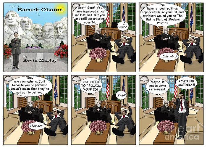 Barack Obama Greeting Card featuring the digital art Achtung Amerika by Kevin Marley