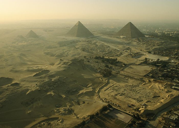 Pyramids Greeting Card featuring the photograph Aerial View Of The Pyramids Of Giza by Kenneth Garrett