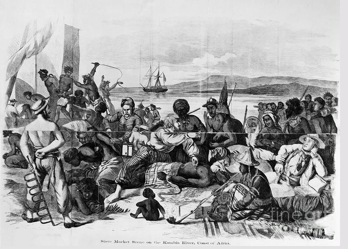 1840 Greeting Card featuring the photograph Africa: Slave Trade, C1840 by Granger