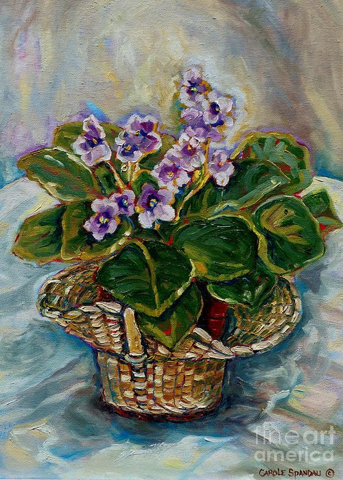 African Violets Greeting Card featuring the painting African Violets by Carole Spandau