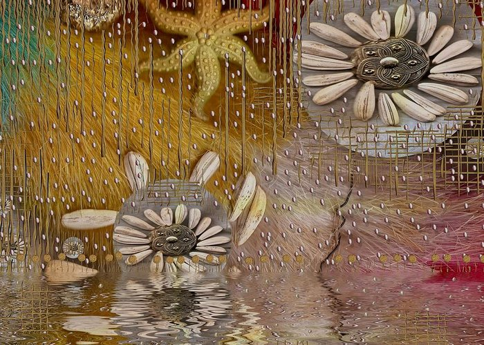 Landscape Greeting Card featuring the mixed media After The Rain Under The Star by Pepita Selles