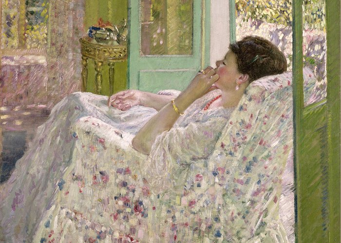 Interior Greeting Card featuring the painting Afternoon - Yellow Room by Frederick Carl Frieseke