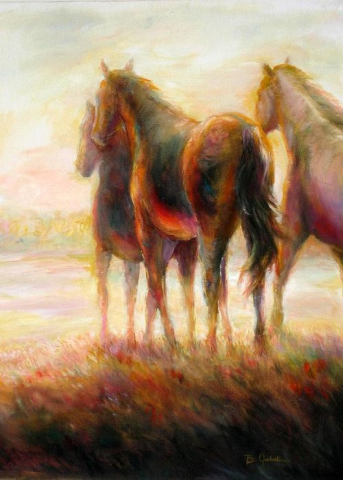Horses Greeting Card featuring the painting Afternoon Glow by Bonnie Goedecke