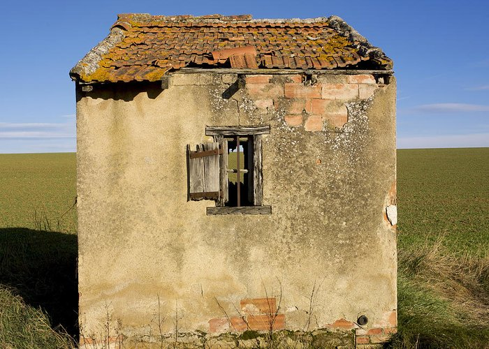 Window Greeting Card featuring the photograph Aged Hut In Auvergne. France by Bernard Jaubert