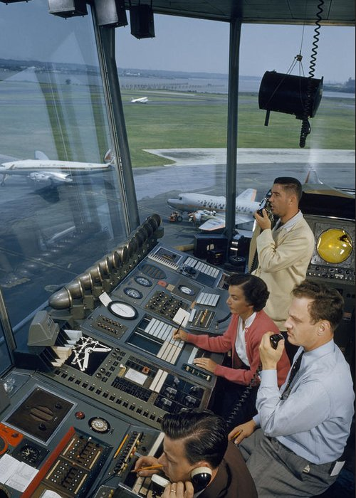 Indoors Greeting Card featuring the photograph Air Traffic Controllers Direct Traffic by David Boyer
