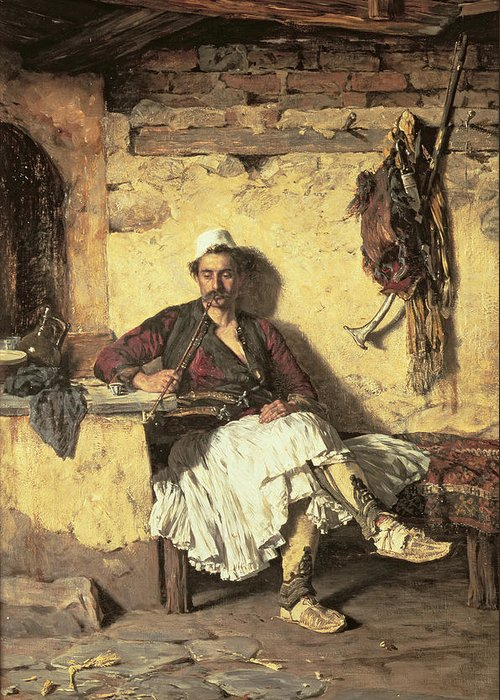 Albania; Rest; Soldier; Seated; Sitting; Pipe; Smoking; Smoker; Interior; Traditional Costume; Moustache; Off-duty; Saddle; Horn; Peasant Greeting Card featuring the painting Albanian Sentinel Resting by Paul Jovanovic