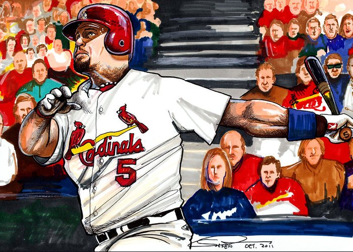 Albert Pujols Greeting Card featuring the drawing Albert Pujols by Dave Olsen