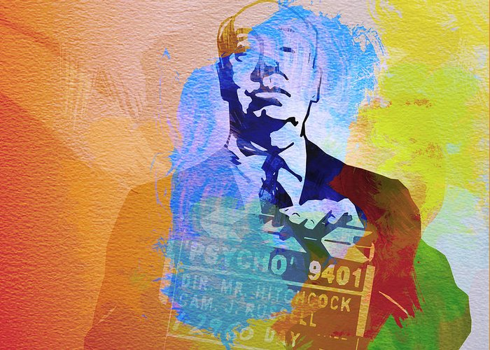 Alfred Hitchcock Greeting Card featuring the painting Alfred Hitchcock by Naxart Studio
