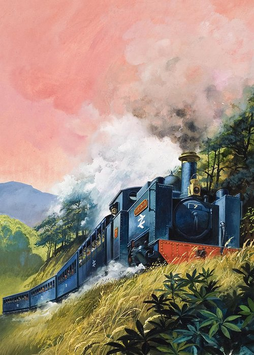 All Aboard For Devil's Bridge Greeting Card featuring the painting All Aboard For Devil's Bridge by English School