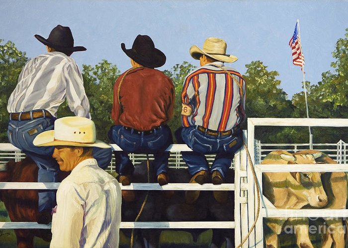 Cowboys Greeting Card featuring the painting All American by Pat Burns