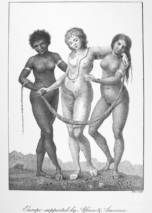 1796 Greeting Card featuring the photograph Allegory: Slave Trade, 1796 by Granger