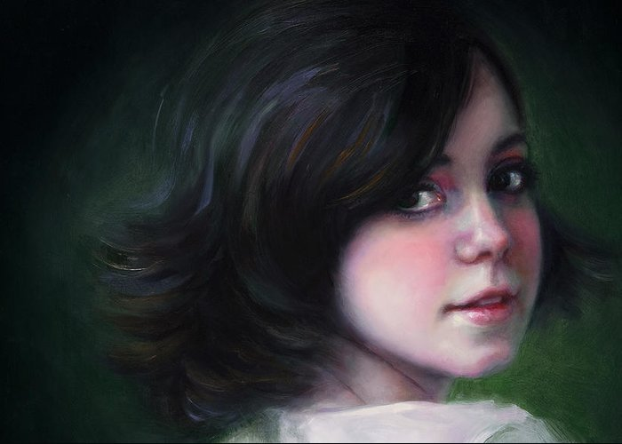 Girl Greeting Card featuring the painting Almost Ready-detail by Talya Johnson