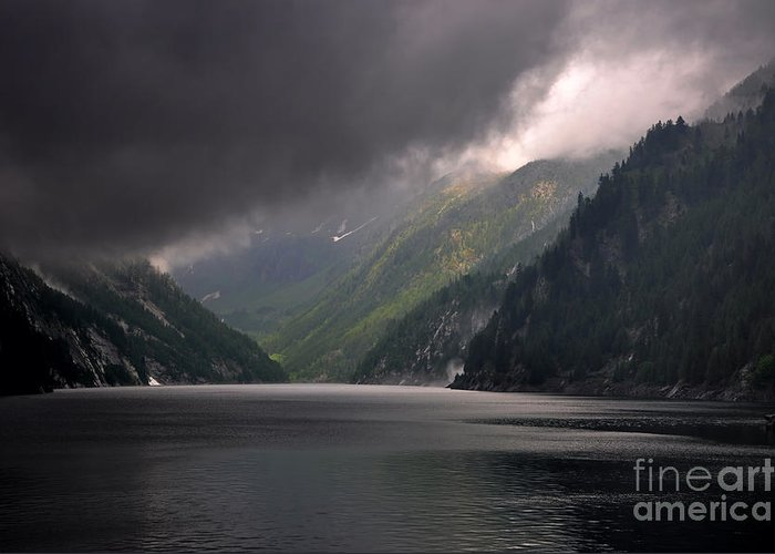 Lake Greeting Card featuring the photograph Alpine Lake With Sunlight by Mats Silvan