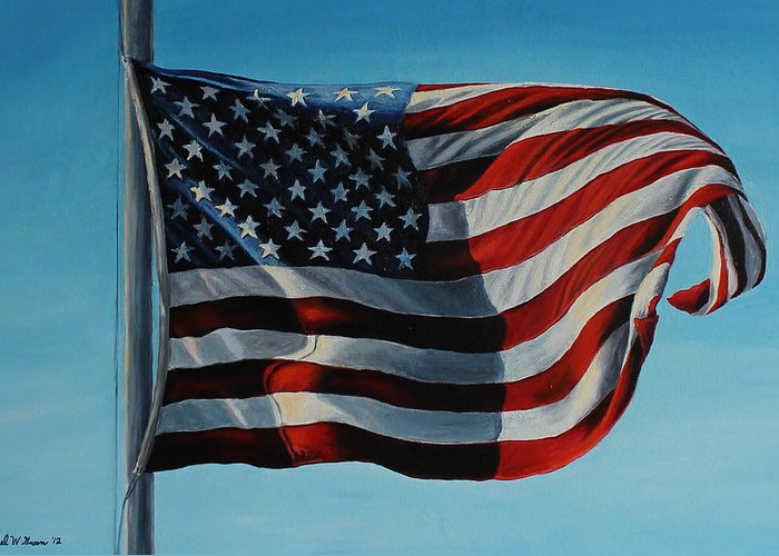 American Flag Greeting Card featuring the painting America The Beautiful by Daniel W Green