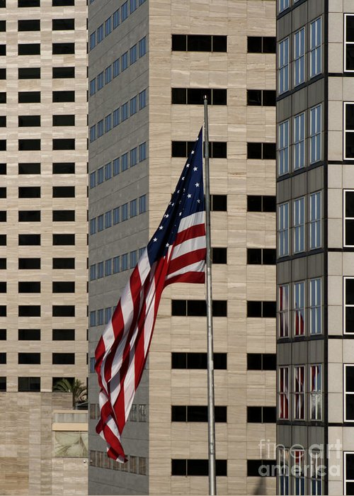 American Flag Greeting Card featuring the photograph American Flag In The City by Blink Images