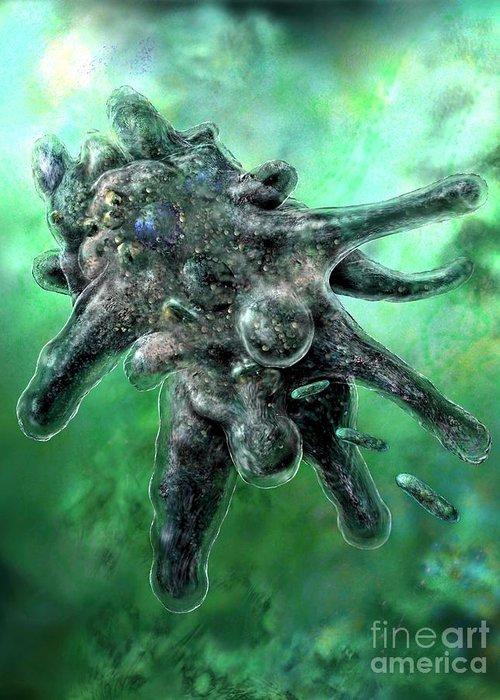 Ameba Greeting Card featuring the digital art Amoeba Green by Russell Kightley