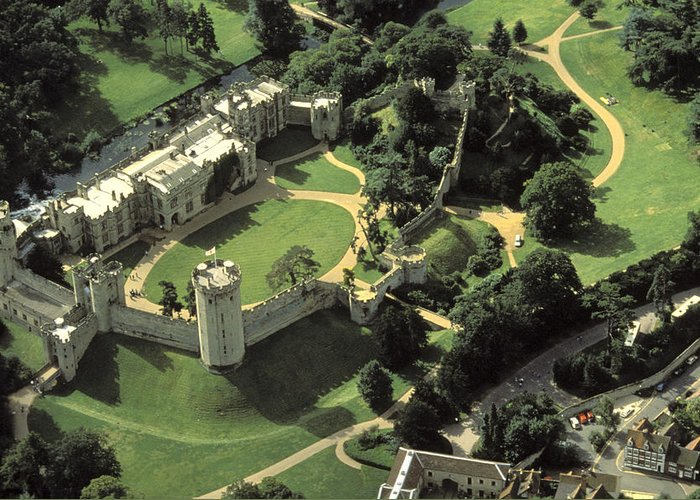 Warwick Castle Greeting Card featuring the photograph An Aerial View Of Warwick Castle by Richard Nowitz