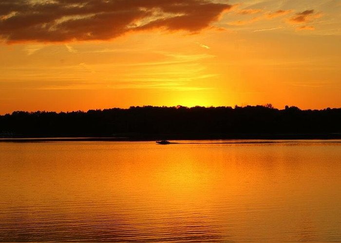 Patoka Lake Greeting Card featuring the photograph An Evening Ride At Patoka by Brandi Allbright