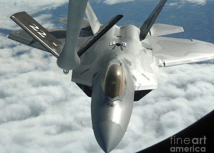Color Image Greeting Card featuring the photograph An F-22a Raptor Refuels With A Kc-135 by Stocktrek Images