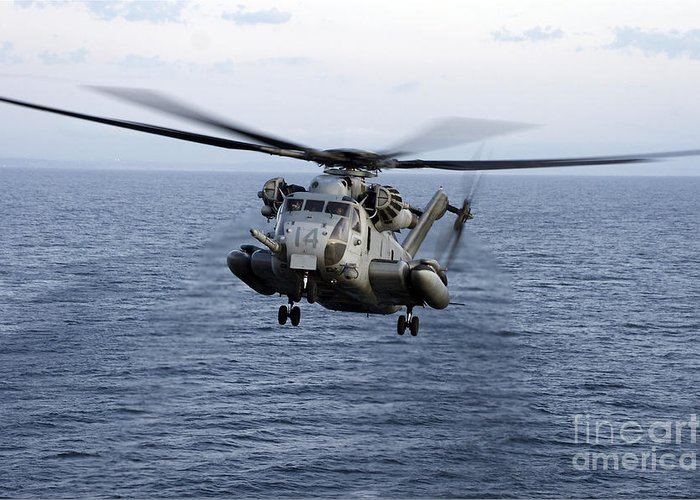 Transportation Greeting Card featuring the photograph An Mh-53e Sea Dragon In Flight by Stocktrek Images