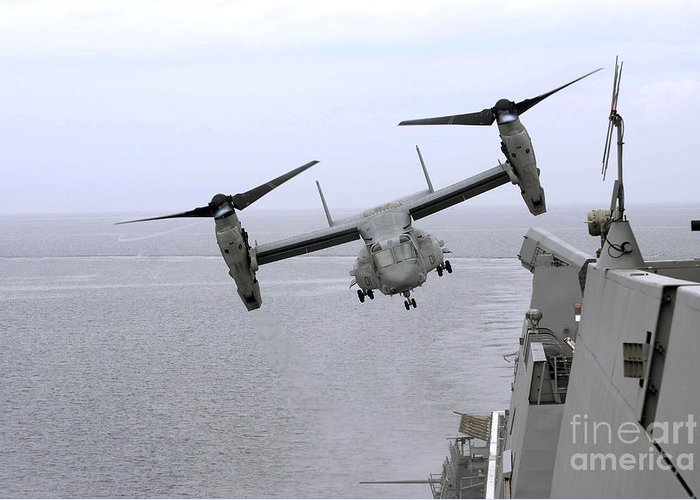 Aircraft Greeting Card featuring the photograph An Mv-22b Osprey Takes by Stocktrek Images