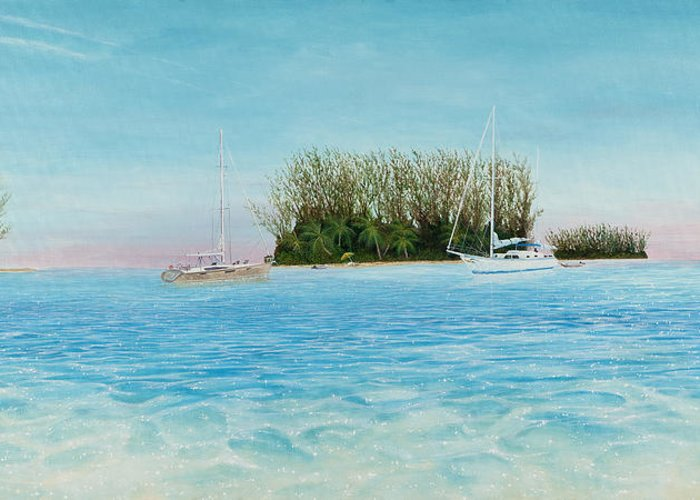 Sailboats Greeting Card featuring the painting Anchorage At Crystal Bay by Kevin Brant